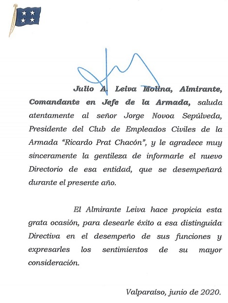 Saludos CJA. Almte. Julio Leiva Molina, a la nueva Directiva Club EECC